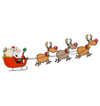 Team Of Reindeer And Santa In His Sleigh Flying vector image vector image