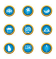 tropical assist icons set flat style vector image vector image