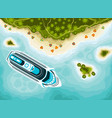 tropical islands top view and cruise ship vector image vector image