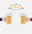 two businessman hand holding beer mugshands vector image