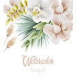 watercolor white orchid flowers and palm leaves vector image vector image