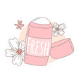 women deodorant for girls pink color with flowers vector image