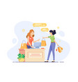 young woman engaged in shopping and checkout her vector image