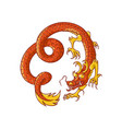 flying red and gold chinese japanese dragon vector image