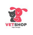 vetshop logo design templete vet shop vector image