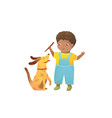 african american boy and dog playing together vector image