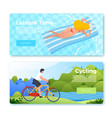 banners cycling man and floating girl vector image