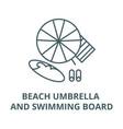 beach umbrella and swimming board line icon vector image vector image