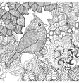 Birdy in fantasy flowers vector image vector image