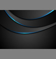 black abstract wavy background with blue neon vector image vector image