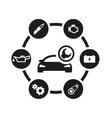 black car service icon set vector image vector image