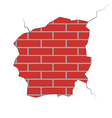 Brick wall with the damaged plaster vector image