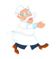 Cartoon old male doctor running vector image vector image