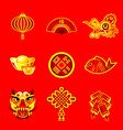 Chinese New Year icons vector image vector image