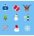 christmas holiday icons set vector image vector image