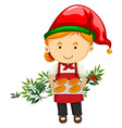 Christmas theme with baker and bread vector image vector image