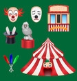 circus set clown box office hat with a rabbit vector image vector image
