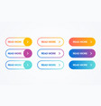 colorful flat line gradient button set vector image