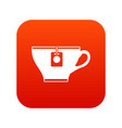 cup with teabag icon digital red vector image vector image