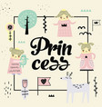 cute princess design creative childish background vector image