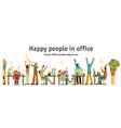 different happy people in office isolated objects vector image