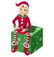 elf assistant santa sit on green christmas box vector image