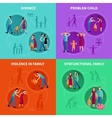 Family Problems Decorative Icons Set vector image vector image
