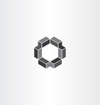 geometrical 3d hexagon icon vector image
