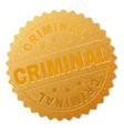 gold criminal medallion stamp vector image