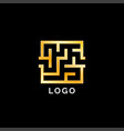 golden luxury square maze logo vector image