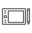 graphic tablet line icon electronic and digital vector image vector image