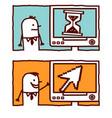 hand drawn cartoon characters - pixel arrow vector image