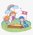 happy children day girls playing in sandbox vector image vector image