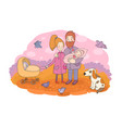 happy family with newborns mom dad and kids vector image