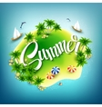 headline summer tropical island in blue sea vector image vector image