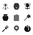 Honey icons set simple style vector image vector image
