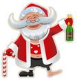 merry christmas fun drunk santa claus holding vector image vector image