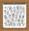 notebook design pineapples sketch vector image vector image