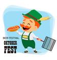 oktoberfest beer festival funny man vector image vector image