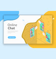 online chatting flat isometric conceptual vector image