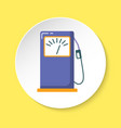 petrol filling station icon in flat style on round vector image
