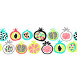 pomegranate summer fruit seamless border vector image vector image