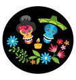 poster with colorful skulls with candle and flowe vector image vector image