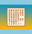 retro pixel video game font - symbols letters and vector image