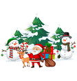 santa and snowman with many presents vector image vector image