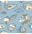seamless pattern aquarium fish wave vector image vector image