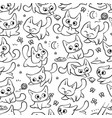 seamless pattern cats different emotions and vector image