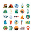 set icons of camping zone vector image vector image