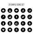 set of 20 editable child icons includes symbols vector image vector image