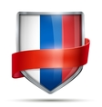 Shield with flag Russia and ribbon vector image vector image